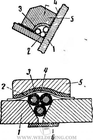 Укладка нескольких лежачих электродов при многослойной сварке