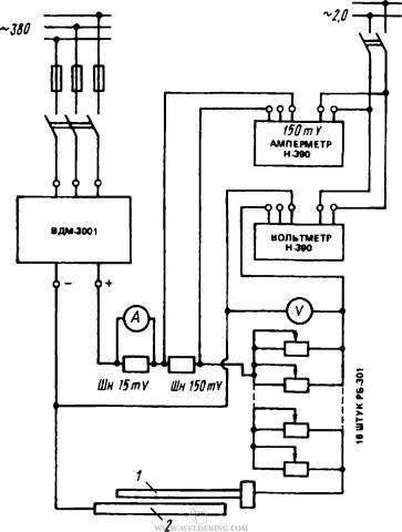 Электрическая схема поста для наплавки неподвижным лежачим электродом с порошкообразным присадочным металлом