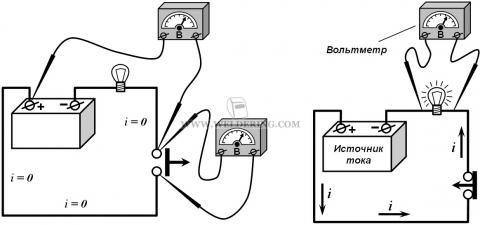 Электрическая цепь с вольтметром